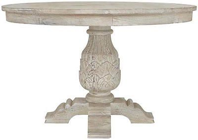 French Country Wood 48 Round Solid Wood Antique White Pedestal