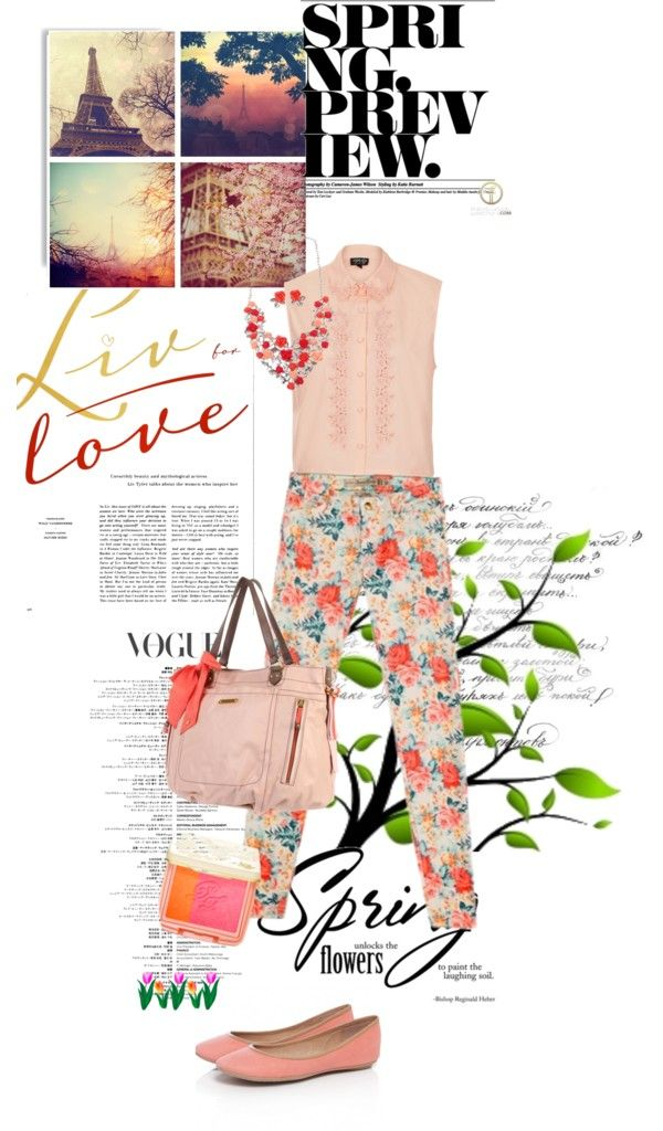 """SET #929. Spring Trends: Floral Denim Pants (Part 3) @}-'-,-'-,---"" by annasousa-1 ❤ liked on Polyvore"