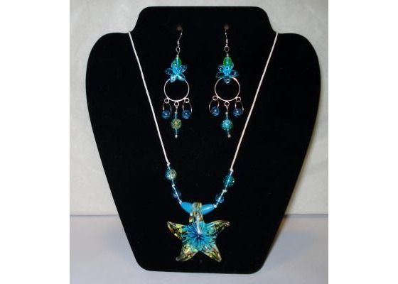 Glass Starfish & Turquoise Flower Necklace & Earrings Set -No Fees & FREE Shippi $19.99