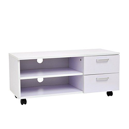 fernsehtisch lowboard tv rack board regal schrank mit schubl den und rollen mistyrose1 jetzt. Black Bedroom Furniture Sets. Home Design Ideas