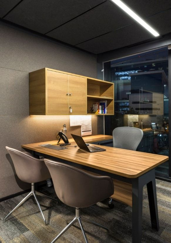 Home Office Design Concept Was Inspired By The Mid Century Industrial Era M Moser Associates The Architects Diary Office Cabin Design Small Office Design Small Office Design Interior