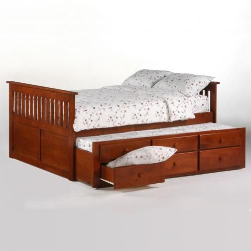 Ginger Captain's™ Platform Bed - In 2 Finishes w/Trundle Bed. Perfect for a child who loves to have a friend sleep over, this version of The Ginger Captain's bed offers a hidden extra sleep surface. Another plus is the drawer space, which is great for extra storage. 10 Year Limited Warranty!