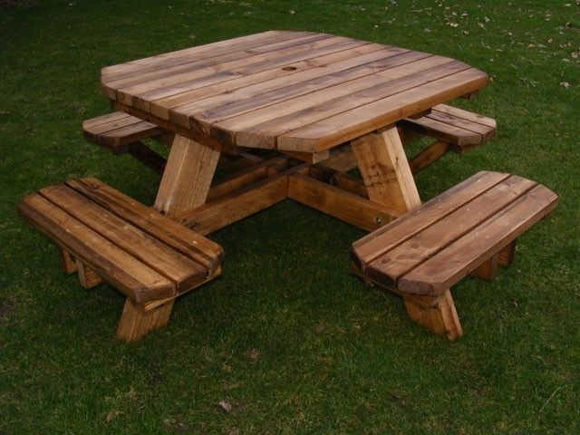 Wooden Handmade Octagonal Picnic Bench 8 Seater Thick Chunky Wood 3 Year Guarantee 250gbp Wooden Picnic Tables Octagon Picnic Table Picnic Table