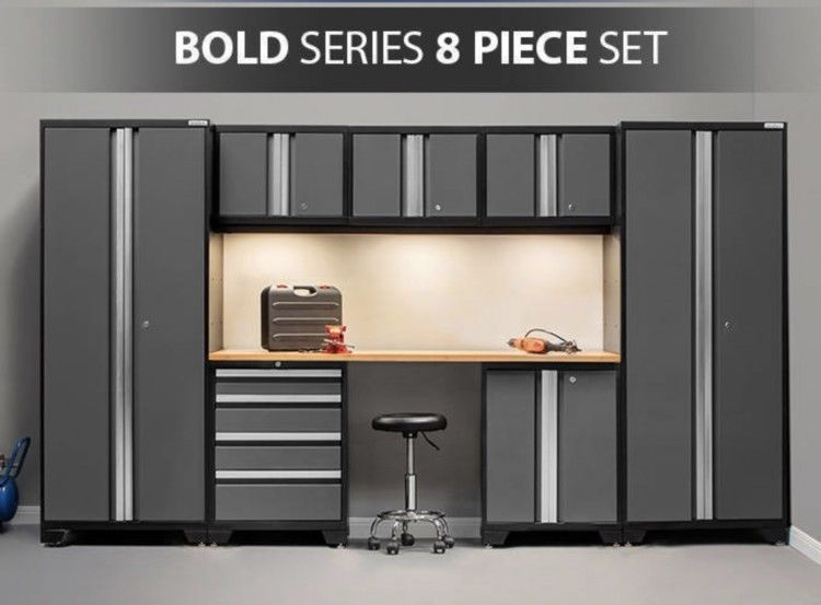 NewAge Products 50070 Bold 3.0 Garage Storage Cabinet Set with Bamboo Worktop Gray 7-Piece