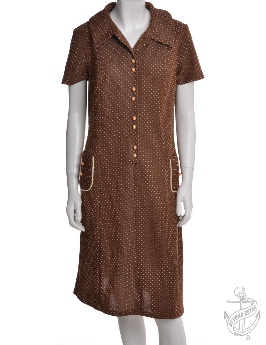 Vintage Vintage Day Dress Brown With A Revere Front   Beyond Retro