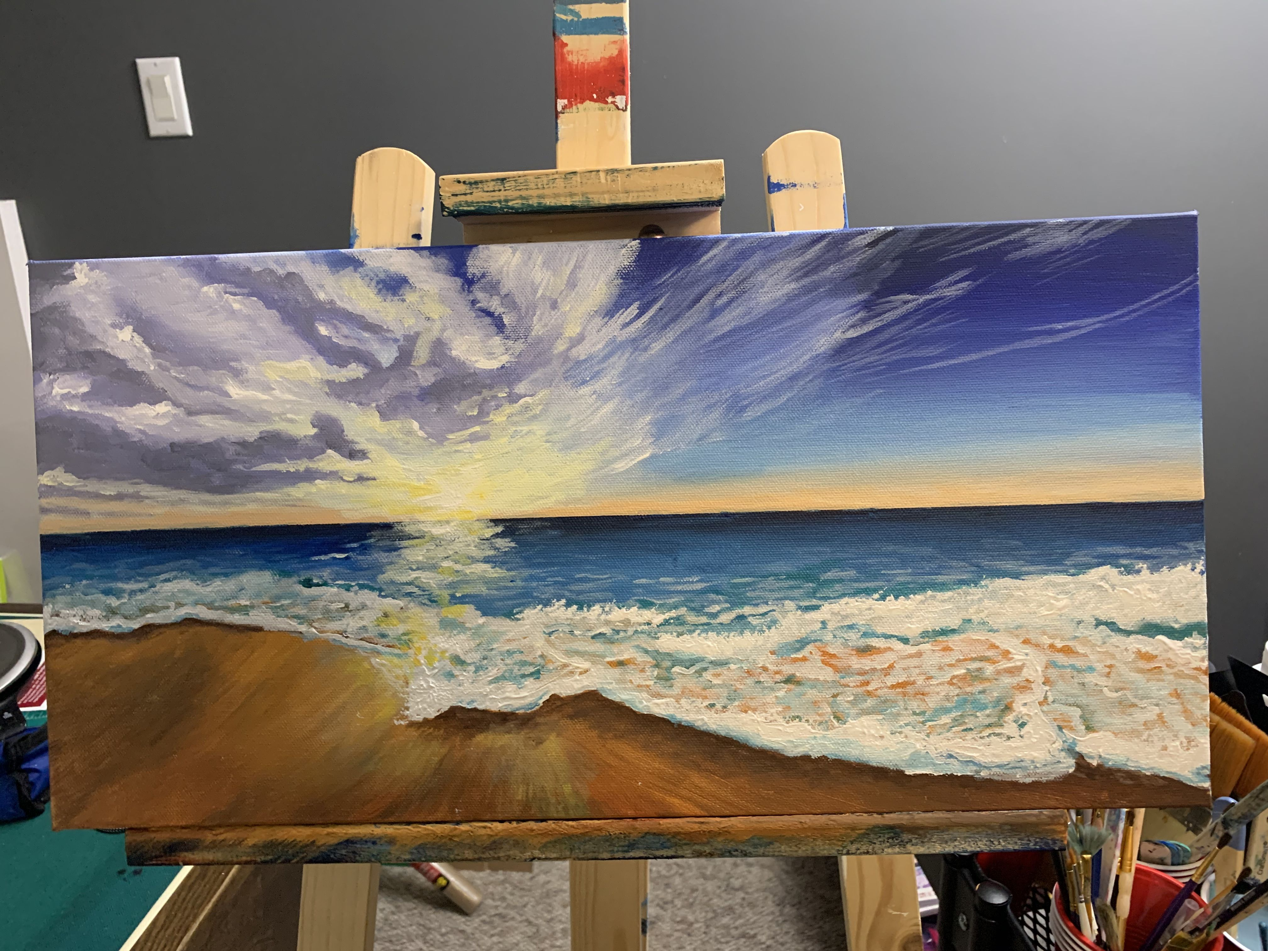 Something Ive been working on last night #acrylicpainting #landscapepainting   #seascapepainting. #seaview #canvasart #wallart. #wavespainting. #beachpainting
