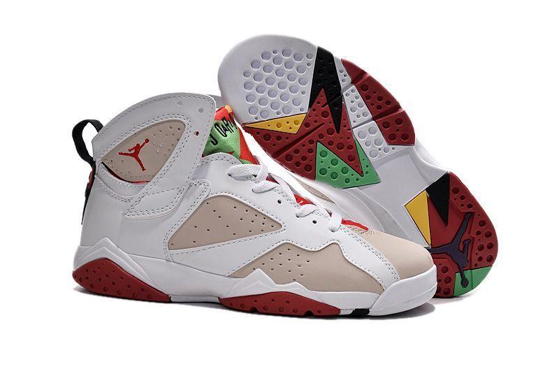 79495dcef4bf40 Hot Air Jordan 7 (VII) Retro Women Shoes White Apricot Red  retrowomenshoes
