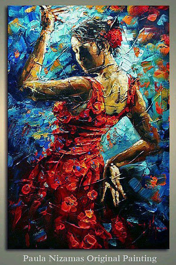 le flamenco vu par paula nizamas 02 acrylic paint. Black Bedroom Furniture Sets. Home Design Ideas