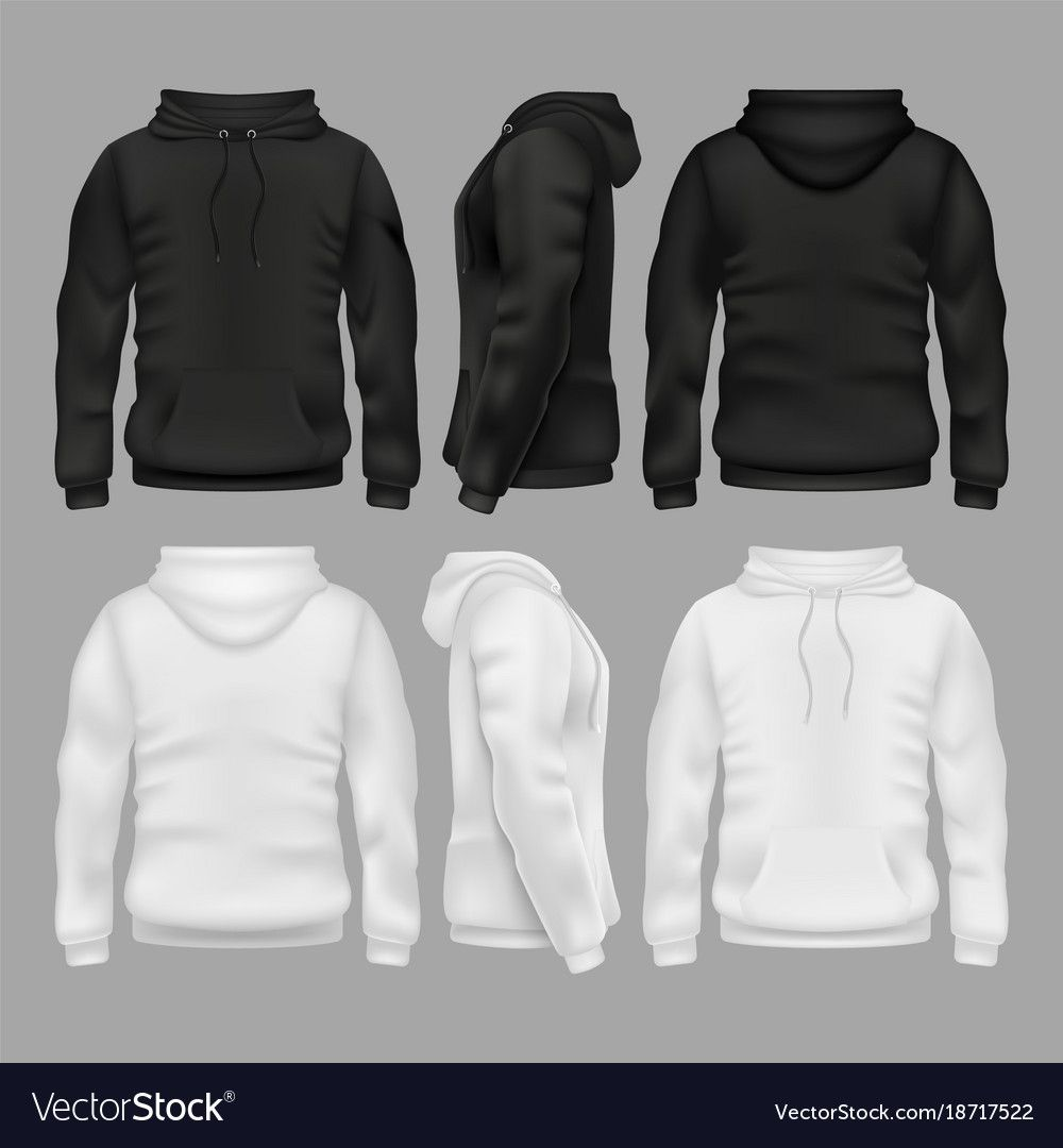 Download Black And White Blank Sweatshirt Hoodie Vector Templates Illustration Of Sweatshirt With Hoodie Download A Free Preview Or High Quality Ado Jaket Hoodie Kaos