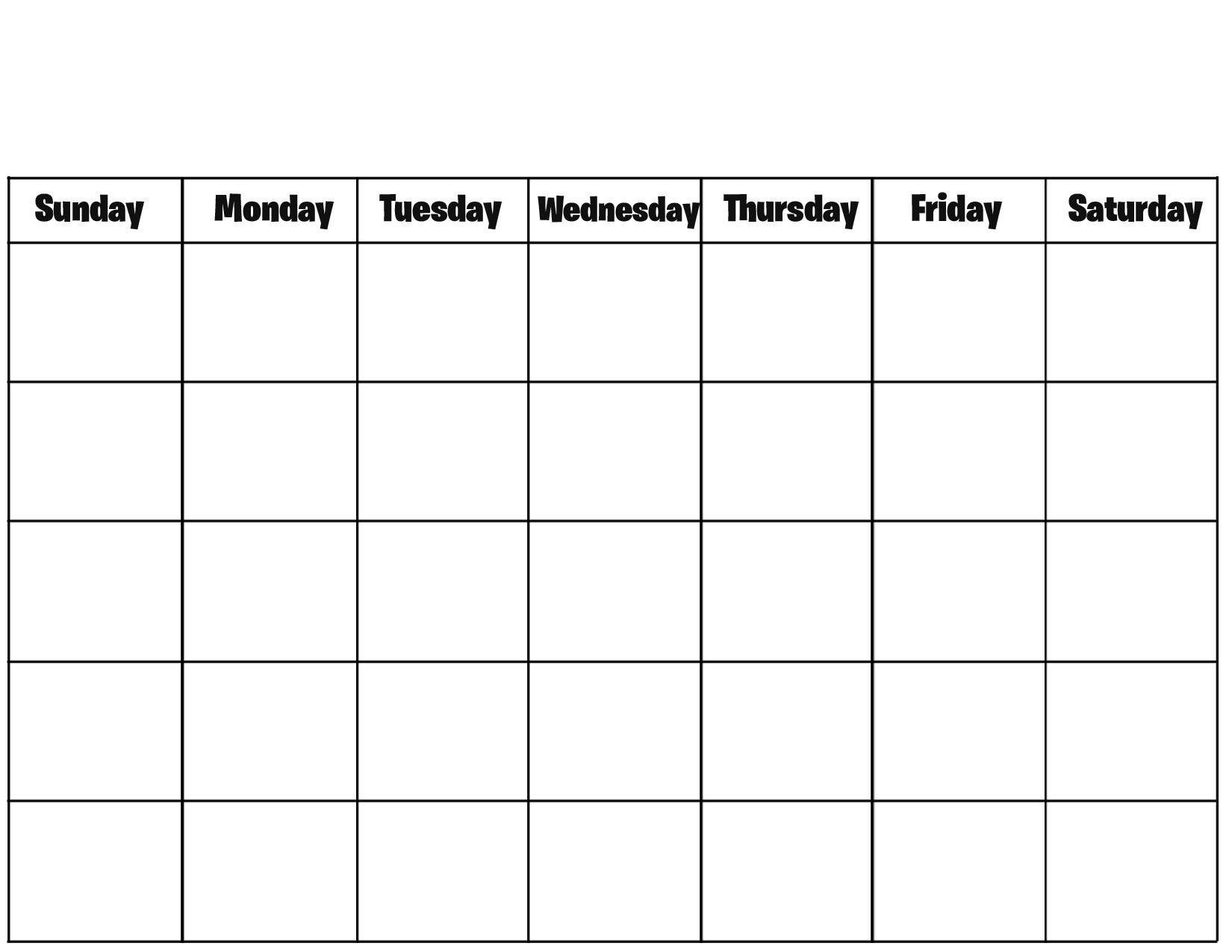 Blank Calendar Excel Template