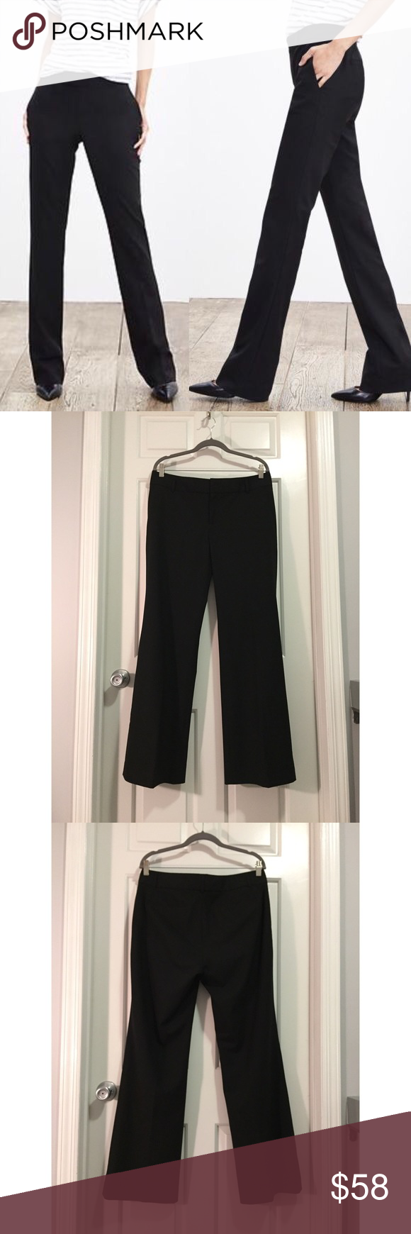 """🏴Friday Sale! Banana Republic Martin Wool Pants This pair of Banana Republic Martin fit wool pants is beautifully made and so flattering. Fully lined in 95% wool with 5% spandex. Measurements lying flat: waist 18"""", hip 21"""", inseam 32"""". Please note that the cover photo is for styling purposes only; the pants for sale are shown in picture #2, 3 and 4. In excellent condition with no holes, stains or tears. I don't believe I ever wore these since all 4 pockets are still sewn shut. Please ask…"""