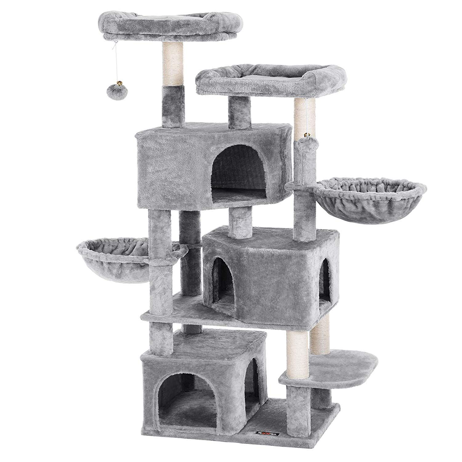 FEANDREA Large Cat Tree with 3 Cat Caves, Multilayer Cat