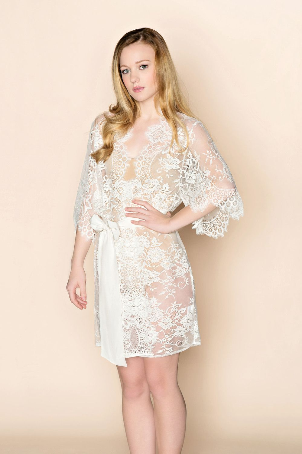 7b26b4d1dab Swan Queen lace kimono bridal robe in ivory or blush - Style 102 ...