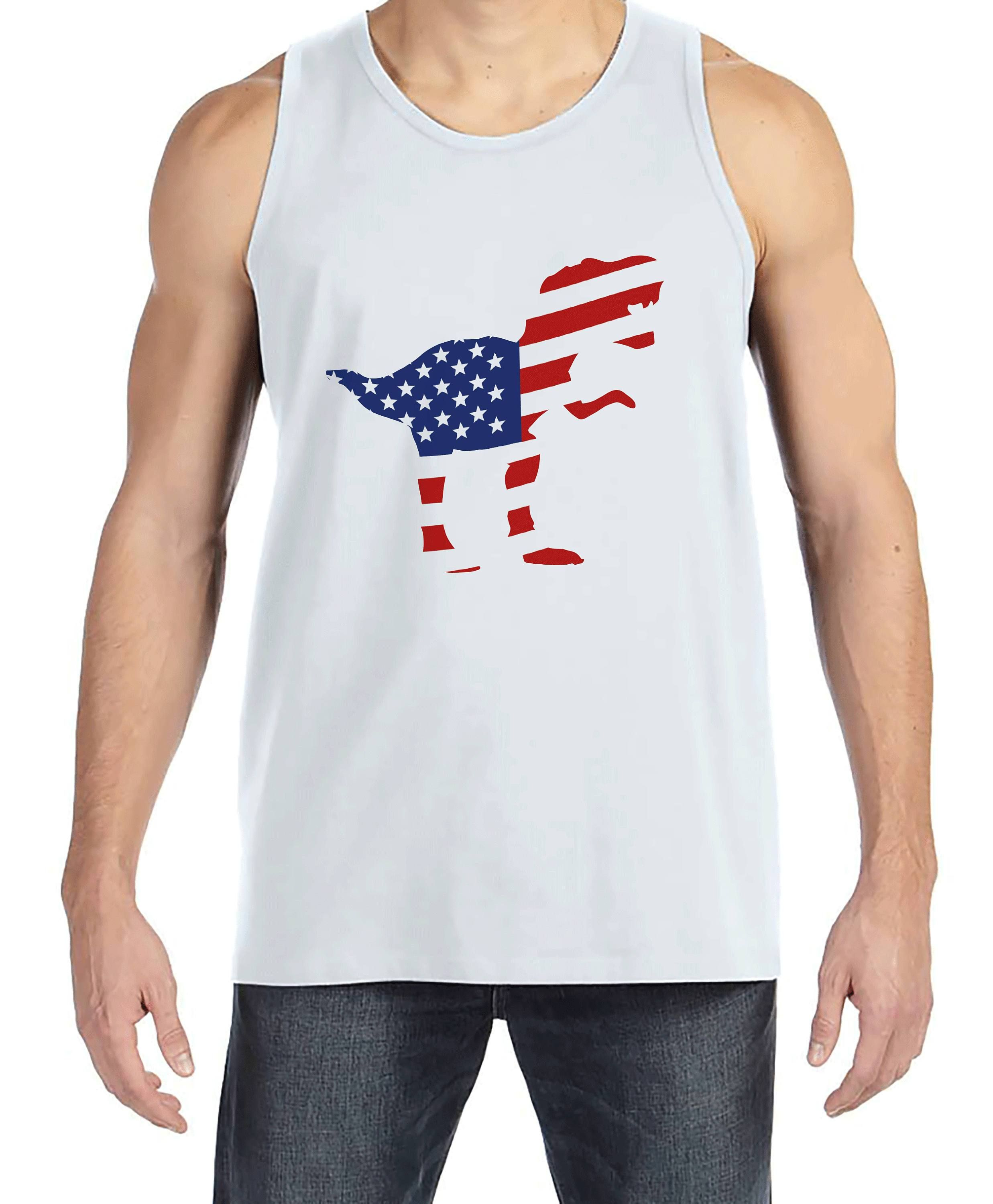 88fa2f2057085 Men s 4th of July Tank Top - American Flag Dinosaur - White Tank - Patriotic  Dino 4th of July Party Shirt - Men s Funny Patriotic Shirt