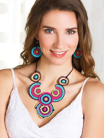 What's New - Crochet - Boho Circles Necklace & Earrings