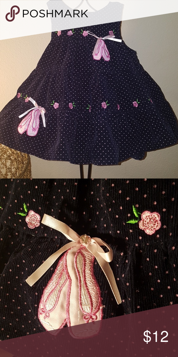 2b8b2d0481cfd Rare Editions jumper dress ballet 18 months Adorable navy blue cordorouy  dress jumper embellished with pretty pink embroidered toe shoes. Size is 18  months