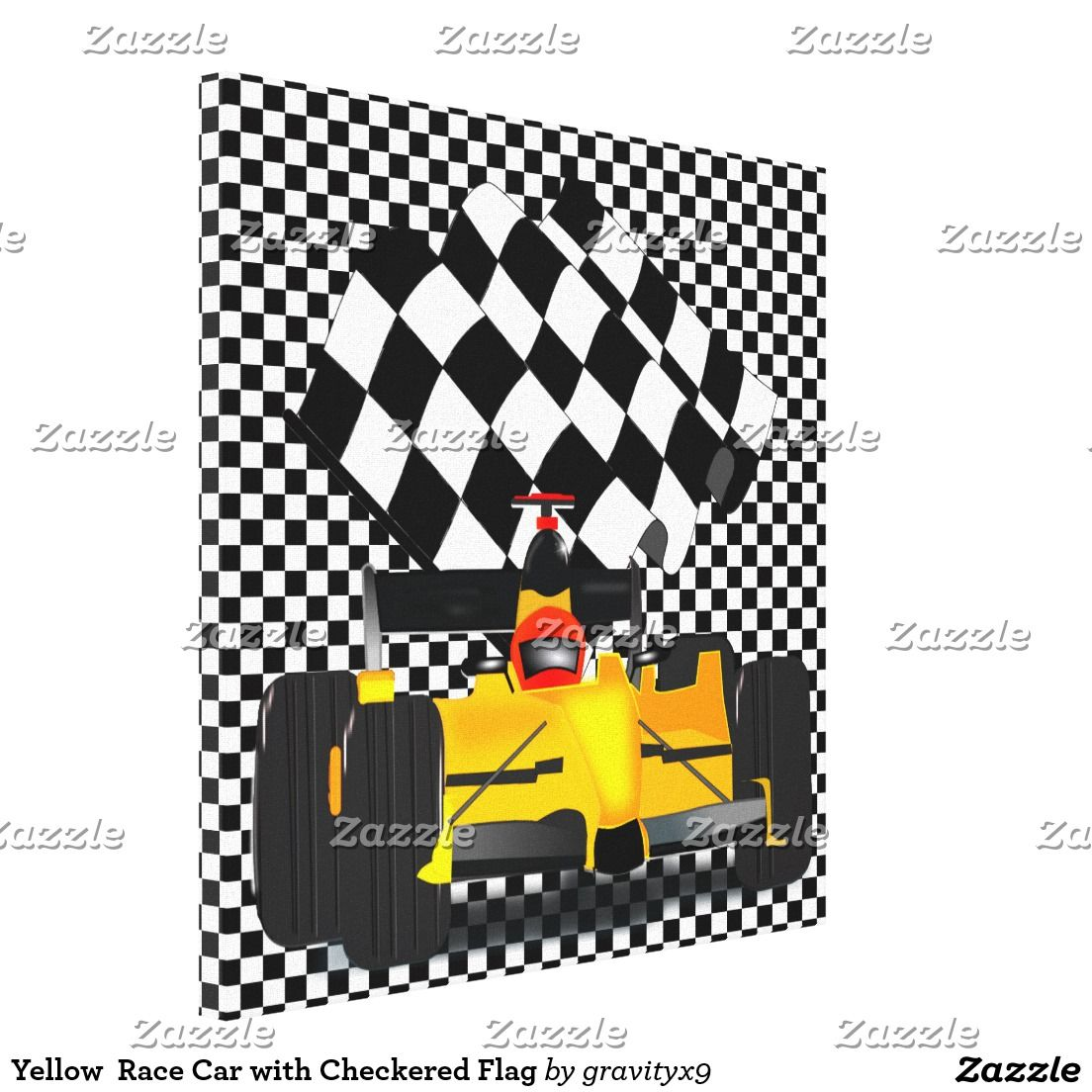 Yellow race car with checkered flag canvas print by gravityx