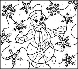 Challenging Color By Number Printables Snowmen Online