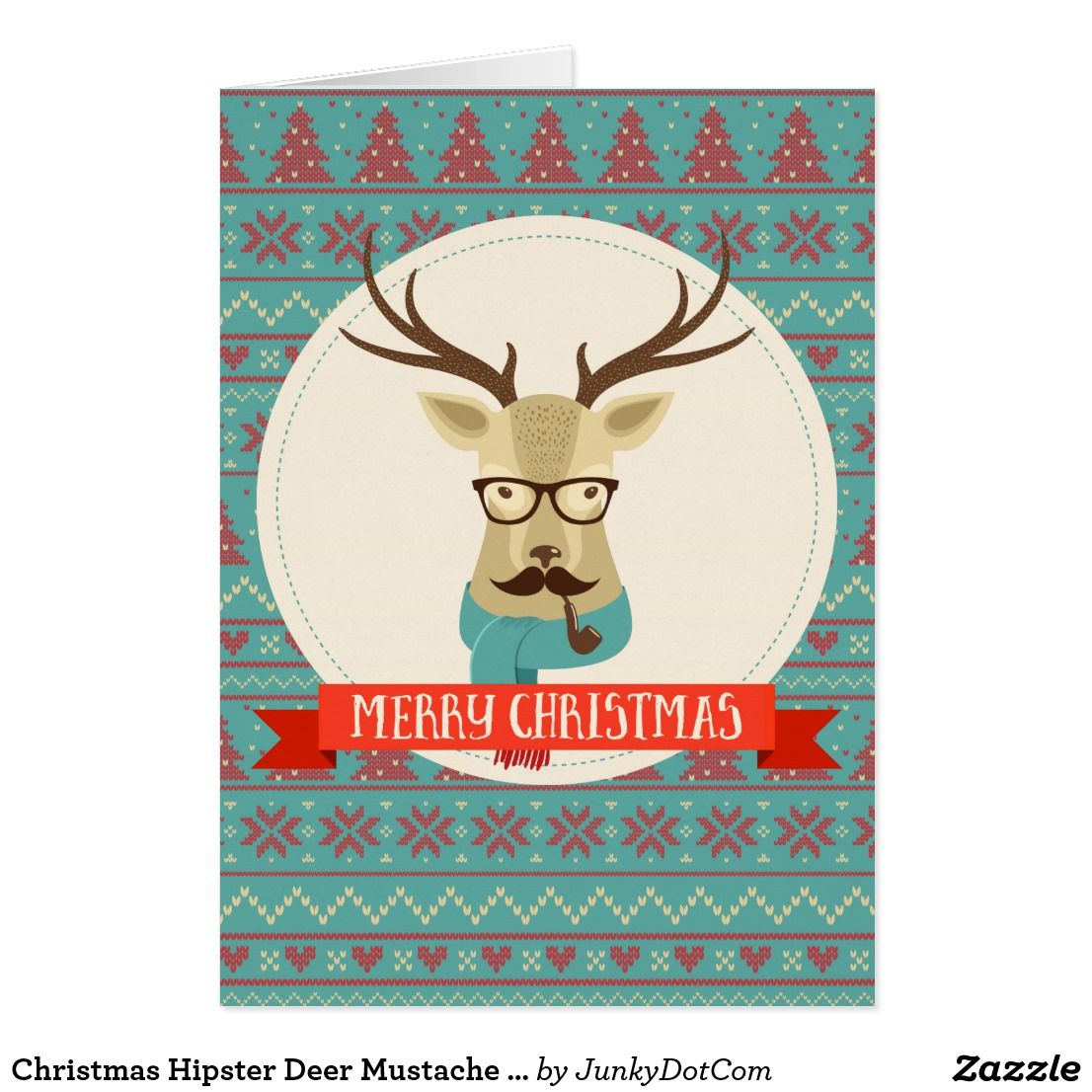 Christmas Hipster Deer Mustache Glasses Pipe Holiday Card | 2018 ...