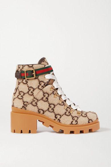 GUCCI Trip 皮革罗缎边饰品牌标志印花羊毛踝靴