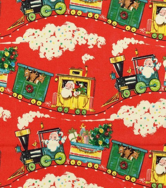 Holiday inspirations christmas fabric vintage santa train for Fabric with trains pattern