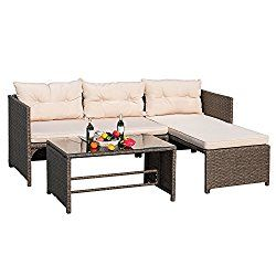 Devoko 3 Pieces Rattan Sectional Garden Patio Furniture Sets Clearance All Weather Wicker Porch Sofa With Cushion Gl Coffee Table Tan