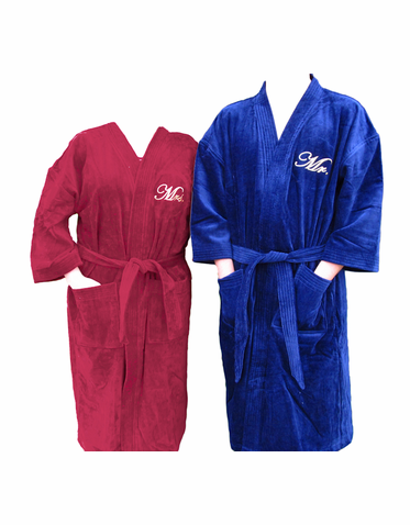 Set of Personalized Terry Velour Bath Robes - Anniversary Spa Robes for Him  and Her e5e92fde3
