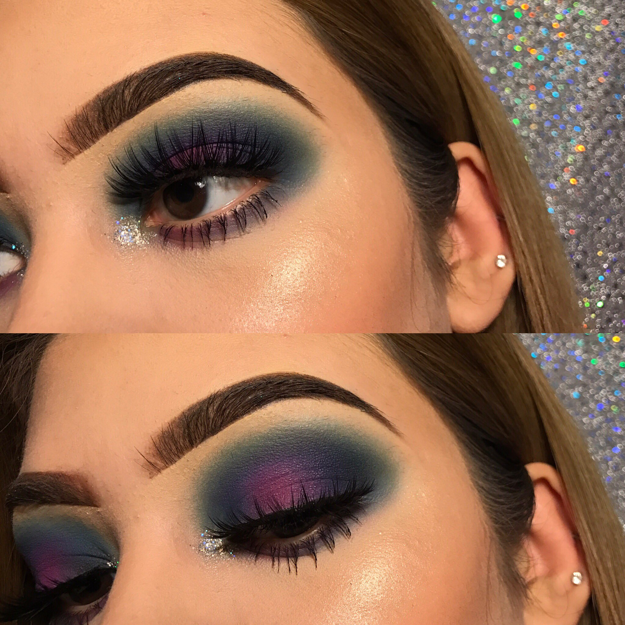Blue purple halo eyeshadow w/ silver glitter inner corner