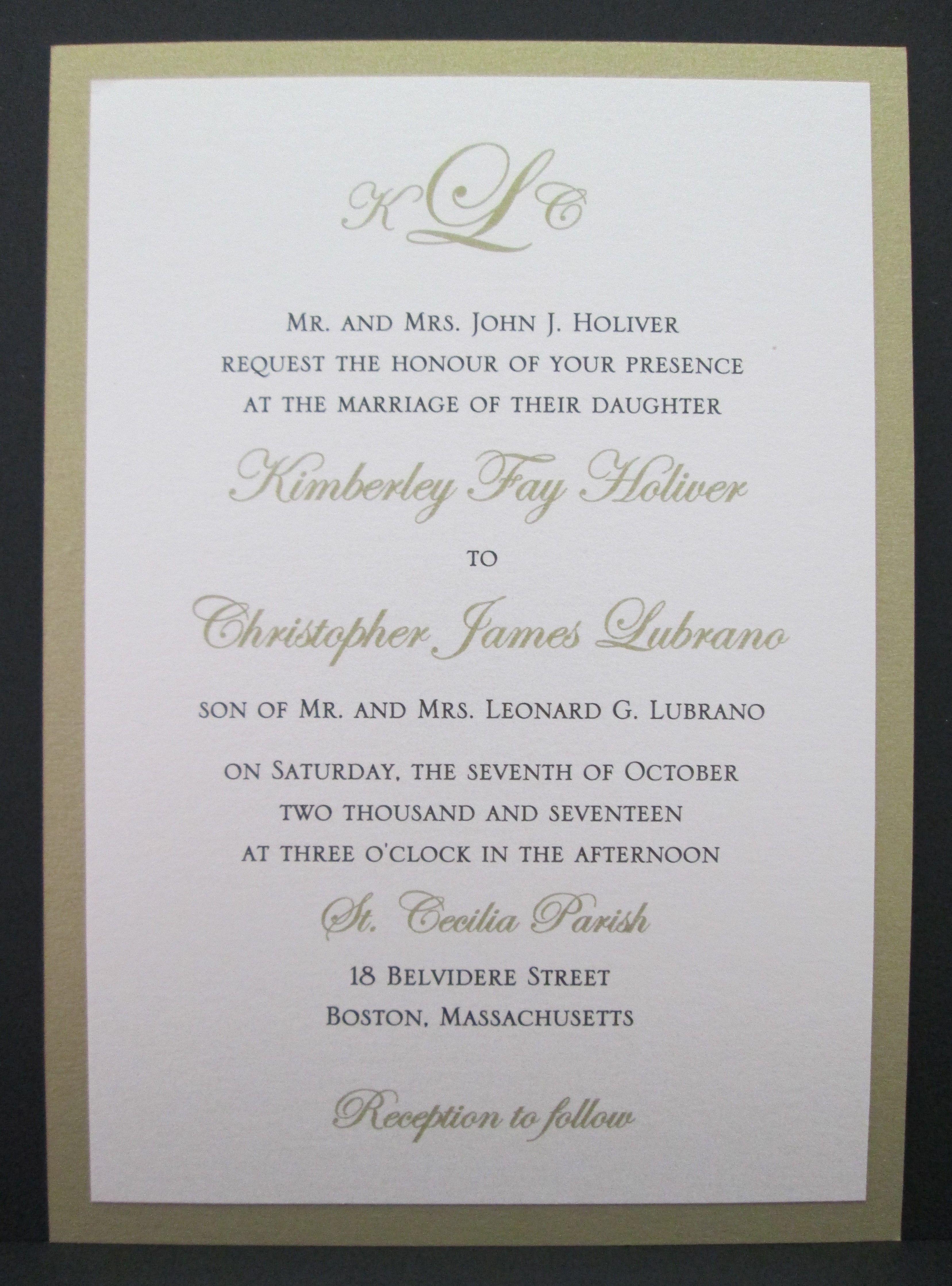 2 Layer Gold Wedding Invitation