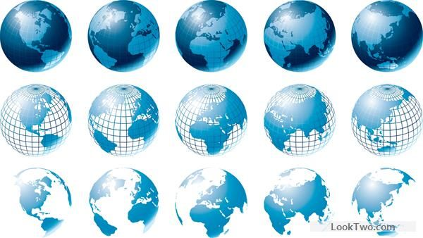 Blue earth with maps vector free vector download