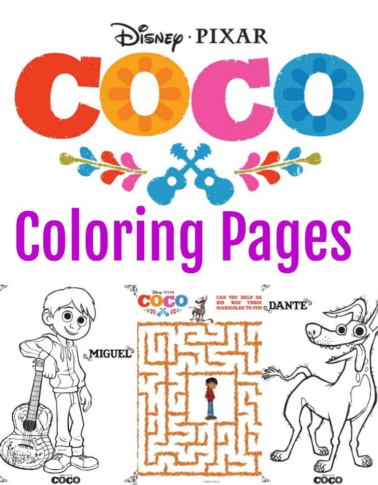 Disney Pixar COCO Coloring Pages Activity Sheets