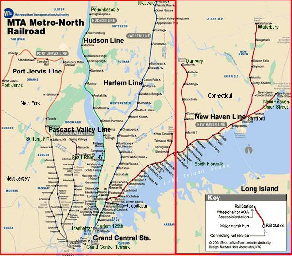 Map Of Metro New York.City Of New York New York Map Mta Metro North Railroad Route Map