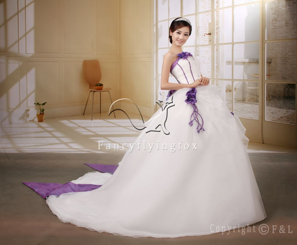 Lace Up Back White And Purple Wedding Dress