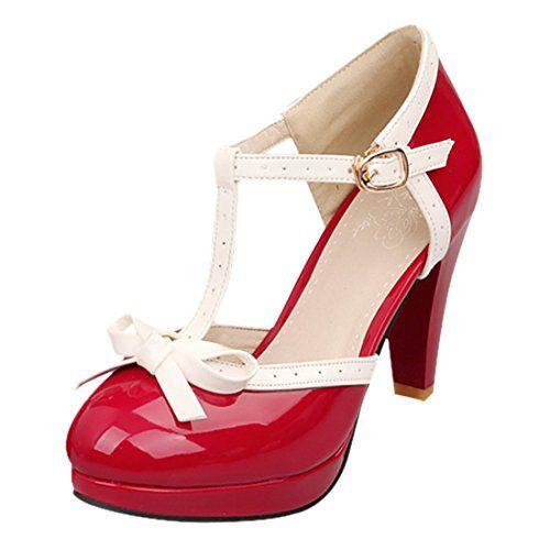 YE Damen Blockabsatz High Heels Pumps mit Schleife und