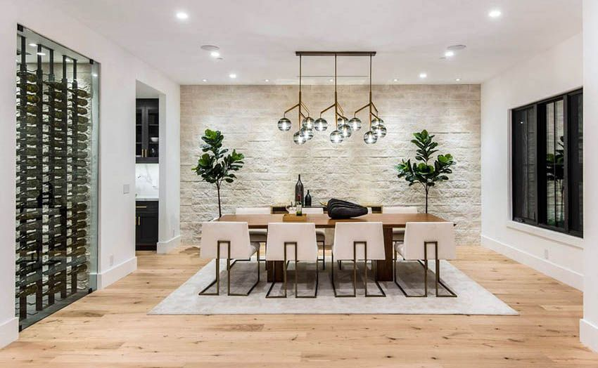 Stacked Stone Design Ideas Dining Room Accent Wall