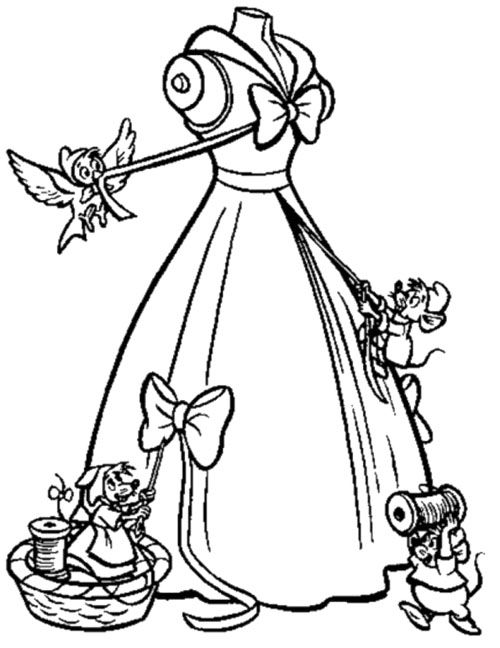 The Mice Help Cinderella To Make Her Gown Coloring Page Disney