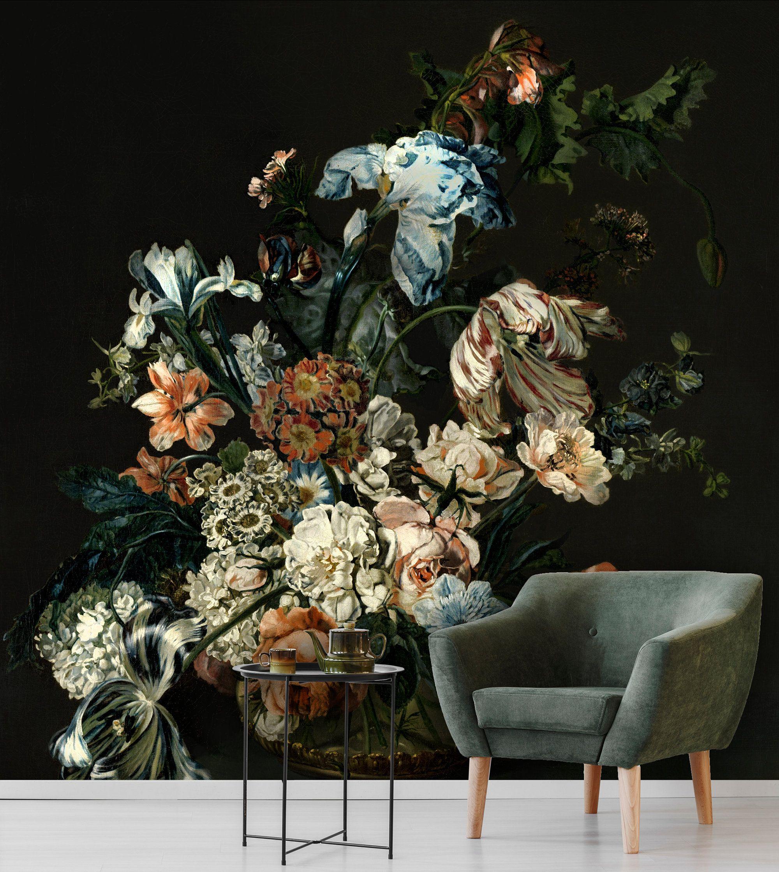 Floral Bouquet With Blue Irises Removable Wallpaper Dutch Floral