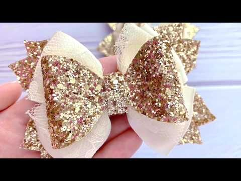 DIY Ivory Ribbon Hair Bow With Lace and Glitter // How To Make Hair Bows // Ribbon Hair Bow Tutorial