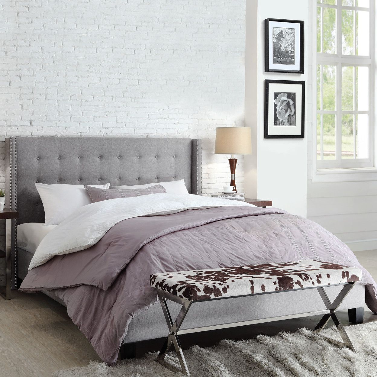 Kingstown Home Mackenna Upholstered Wingback Bed