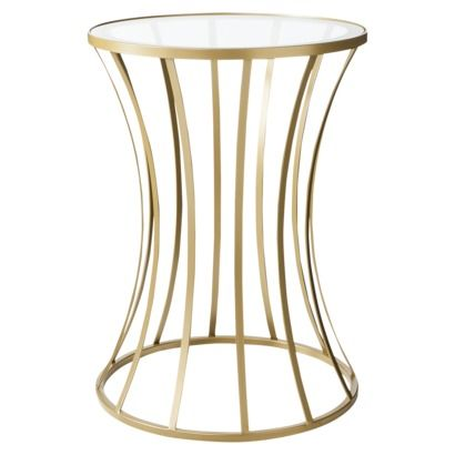 Metal and Glass Accent Table Gold NIGHTSTAND 220 H x 160