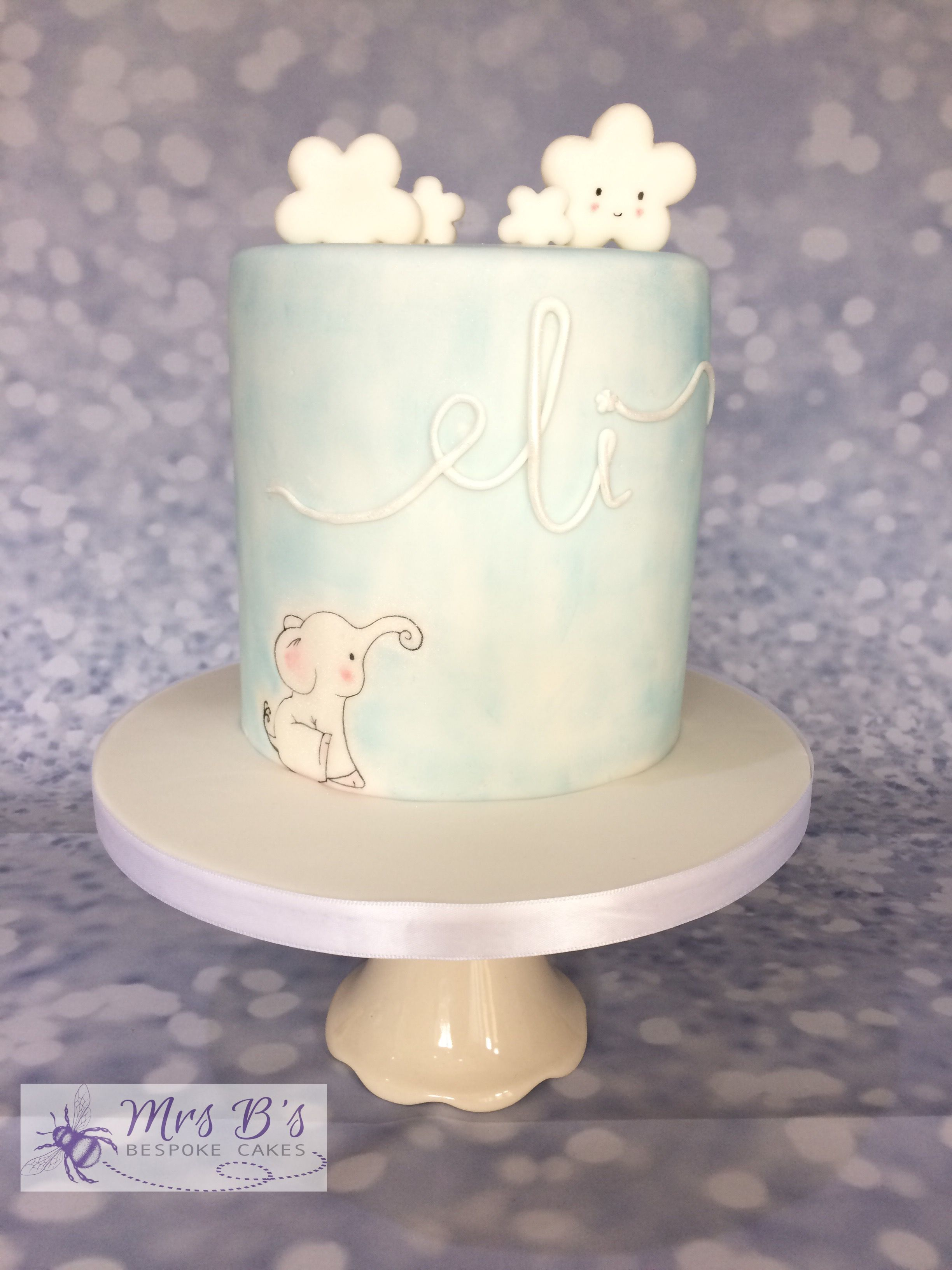 Elephant and Clouds First Birthday Cake for a little boy Entirely ...