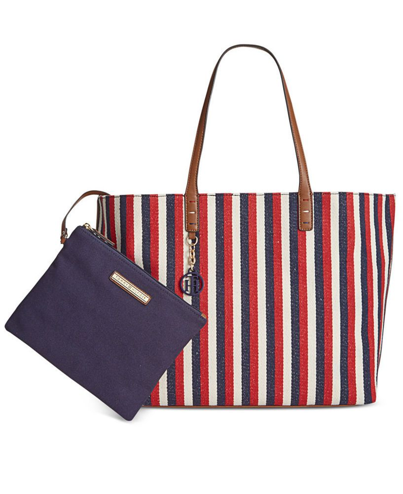 20863e87 TOMMY HILFIGER AUTHENTIC RED WHITE & BLUE STRIPE TOTE BAG NWT $118 # TommyHilfiger #TotesShoppers