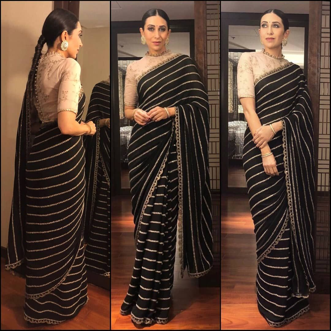 Therealkarismakapoor In Sabyasachiofficial For An The Launch Of The Nail Artistry In Kochi Ootd Styled Trendy Sarees Blouse Design Models Saree Styles