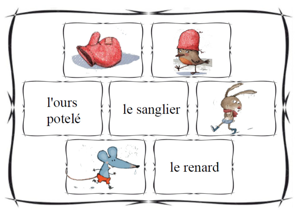 fabrication habile design élégant extrêmement unique La moufle - loto - sac à histoire   FLE enfants - albums ...
