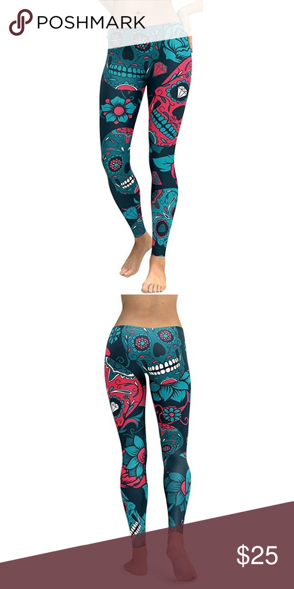 457acca12ed6d Sugar Skull Yoga Leggings Colorful pink, blue, and white Day of the Dead Sugar  Skull leggings. Perfect for yoga, gym, jogging, aerobics, other exercise,  ...