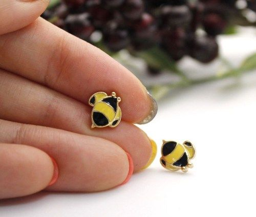 Cute Honey Bee studs earrings, E0107S | GetSweetHJ - Jewelry on ArtFire
