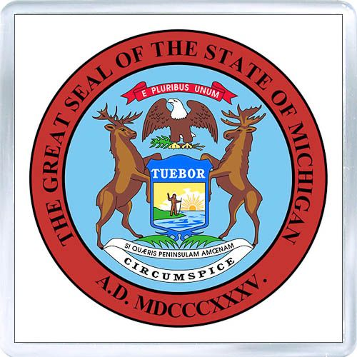 3 29 Acrylic Fridge Magnet United States Seal Of Michigan