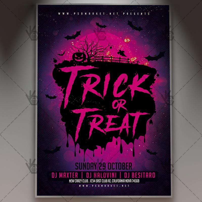 Trick or Treat Night - Halloween Flyer PSD Template