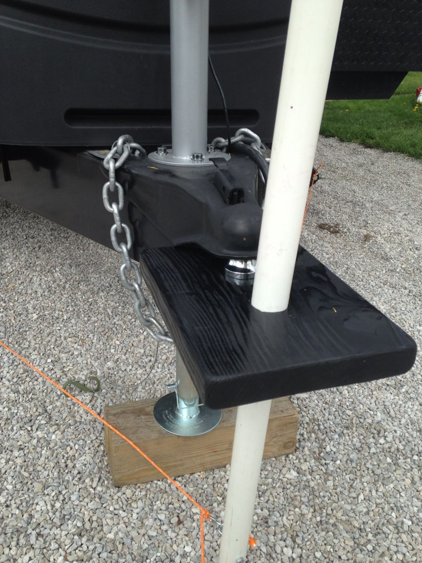 Flag Pole Secured Using The Hitch Travel Trailer Camping Rv Camping Tips Camping Equipment