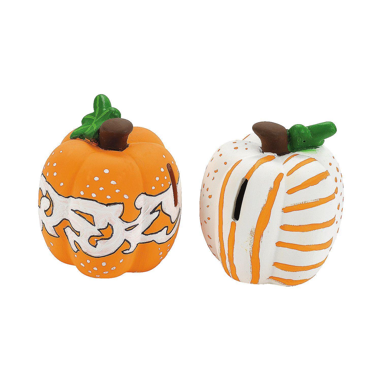 Diy Ceramic Pumpkin Banks Oriental Trading Diy Ceramic Pumpkin Crafts Diy Craft Projects